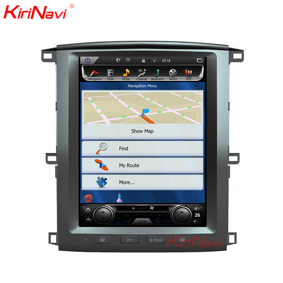 KiriNavi écran Vertical Tesla Style 12.1 pouces android 6.0 autoradio pour Toyota Land Cruiser LC100 GPS Navigation WIFI 2003-2007
