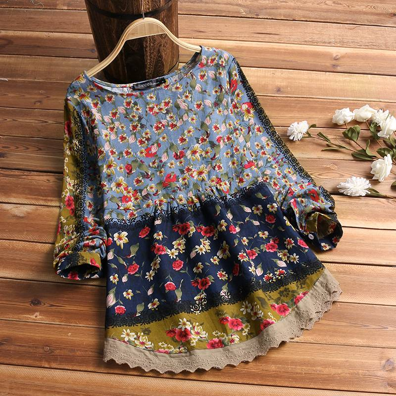 2019 ZANZEA Women Vintage Cotton Linen Top Spring Floral Printed Blouse Long Sleeve Shirt Casual Tunic  Lace Patchwork Blusa