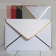 25 peças 194x134mm(7.5x5. envelope cor de pérola 2 polegadas, envelope de convite de casamento grosso de estampagem de ouro