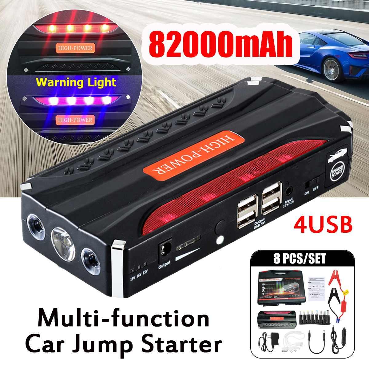 Démarreur automatique portatif de saut de voiture de 82000 mAh 12 V 4 USB batterie externe multifonction LED Booster de batterie de secours pour la voiture diesel d'essence