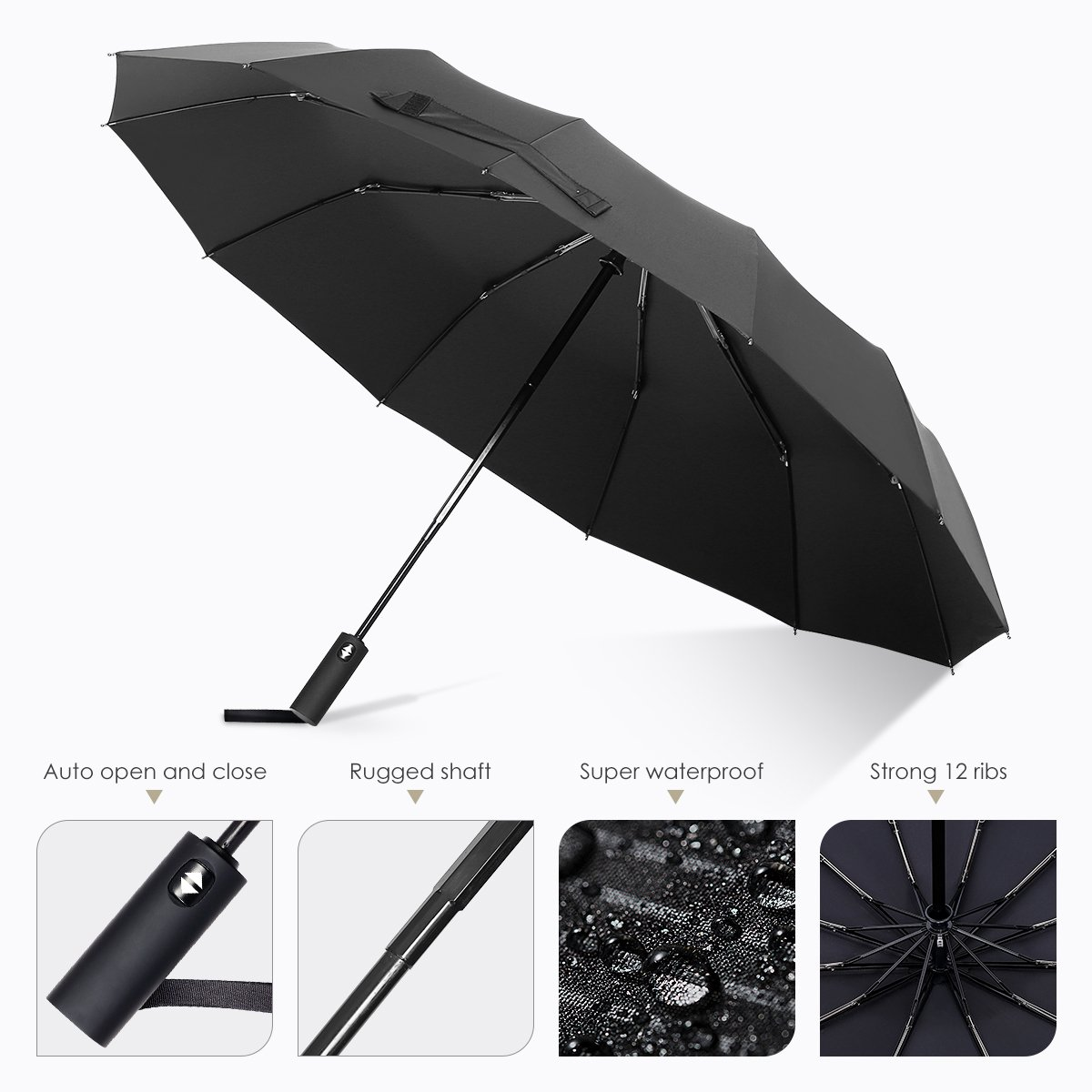 12 Ribs Windproof Travel Umbrella  Teflon Canopy Lengthened Handle With Auto Open Close Button Compact Protection Umbrella