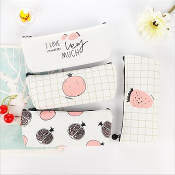 1 PC Kawaii Fruit Canvas School Pencil Case Cute Fabric Pencil Bag Box Pouch Cases For Pens Kids Gift Stationary Supplies 04927