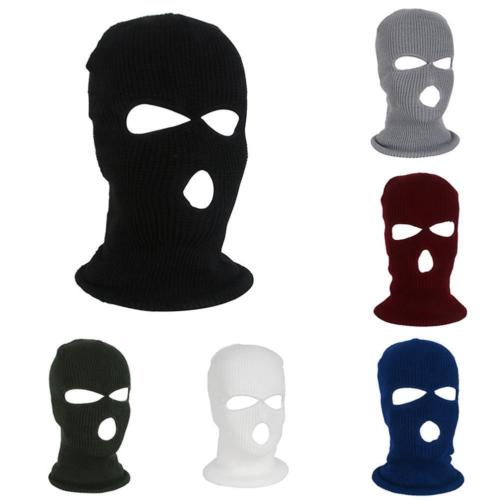 Helmet Bomber-Hats Balaclava Bike Ski-Face-Mask Motorcycle Black New 3-Hole Neck-Warmer