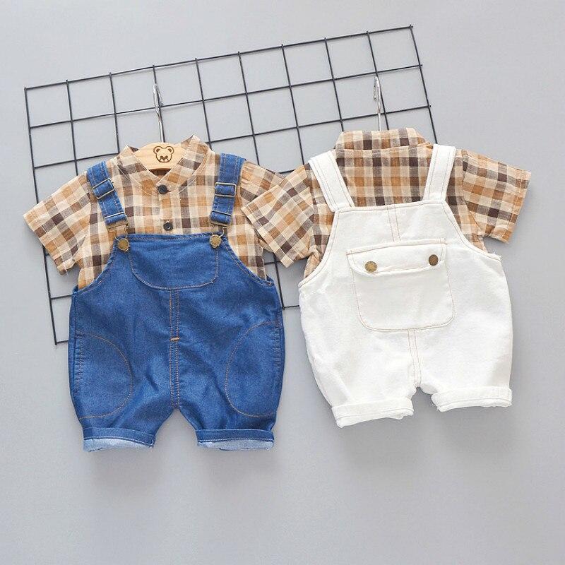 Baby Boy Summer Clothes Children Fashion Plaid T Shirt Bib Pants 2pce/sets Kids Casual Garment Toddler Clothing Child Tracksuit