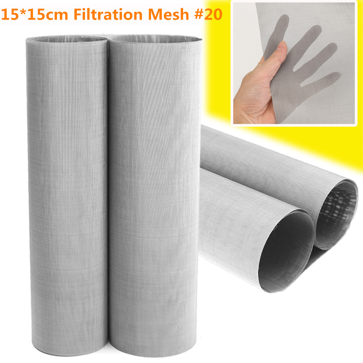 1PC 20 Mesh Woven Wire Cloth Screen Filtration 304 Stainless Steel 15x15cm with High Temperature Resistance
