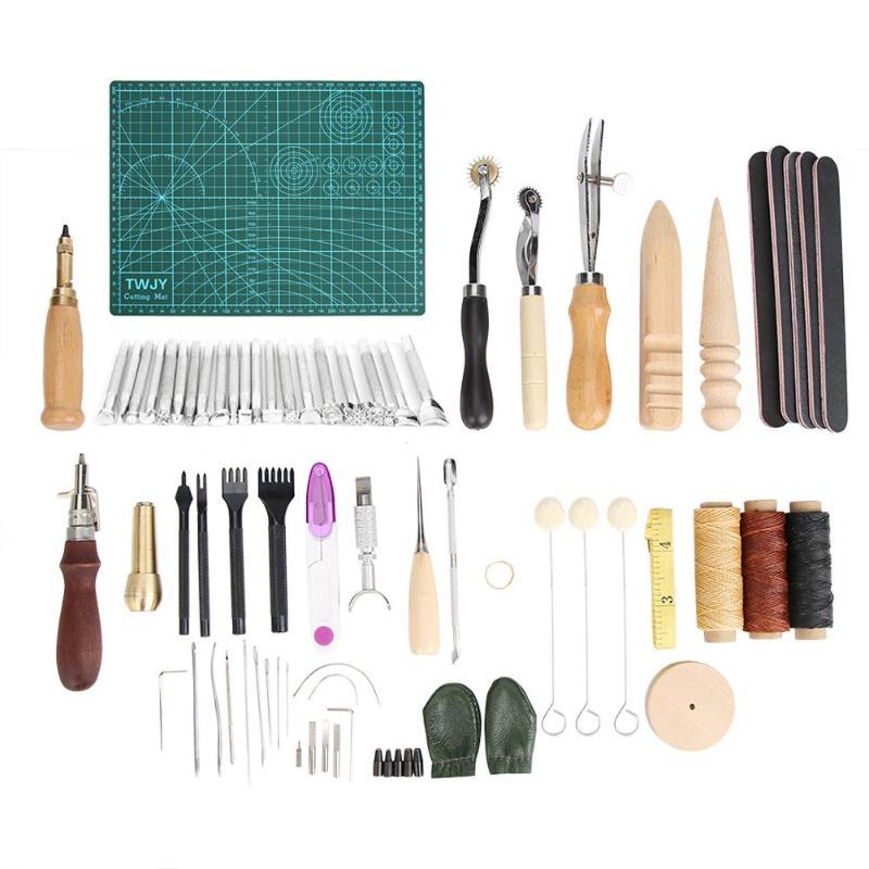 59/50/19 piezas de artesanía de cuero herramienta golpe bordeadora Groover Trench dispositivo cinturón golpeador mano costura golpe de herramientas de cuero