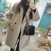 Wool Coat Women Long Length Pockets Turn Down Collar Thick Double Breasted Full Sleeve Tweed Winter Korean Preppy Style