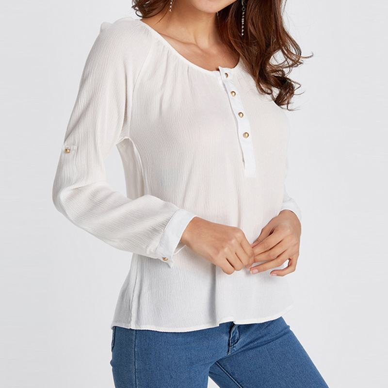 Women Blouses White Blusas Femininas 2018 Spring Autumn O-neck Long Sleeve Shirts Buttons Casual Loose Tops Lady Work Office Tee