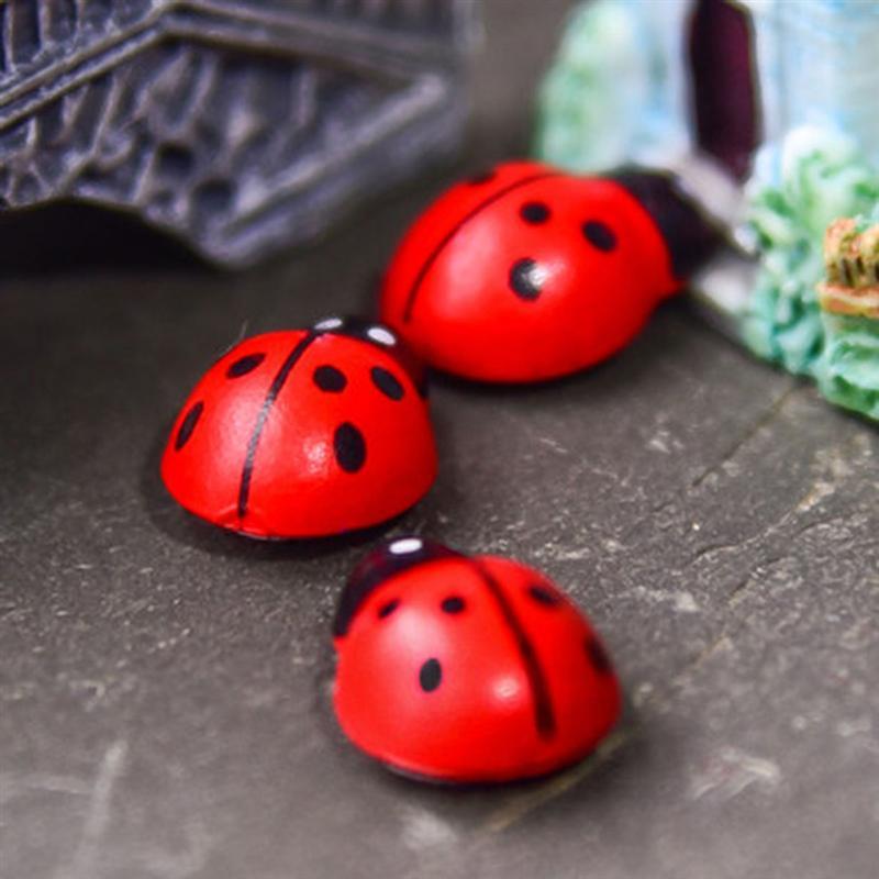 100x Wood Ladybird DIY Flower Pot Decor Set Micro Landscape Miniature Decor