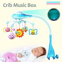 Baby Musical Bed Projection Bell Baby Crib Hanging Toy Crib Music Box Mobile Bed Bell Infant Baby Rattles Rotary Learning Toys