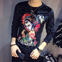 2019 Spring Fashion Men Slim Fit Long Sleeve O Neck Velvet T Shirt Luxury Men T Shirt Design Printing T Shirt Homme Club Outfit