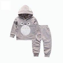 Spring Autumn Children Boys Girls Cartoon Clothing Sets Baby Velvet Hoodies Pants 2Pcs/Sets Fashion Kid Cotton Clothes Tracksuit цена 2017