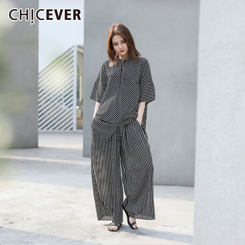 CHICEVER Summer Striped Women Two Piece Set Turtleneck Short Sleeve Top Clothing With Elastic Straight Pants