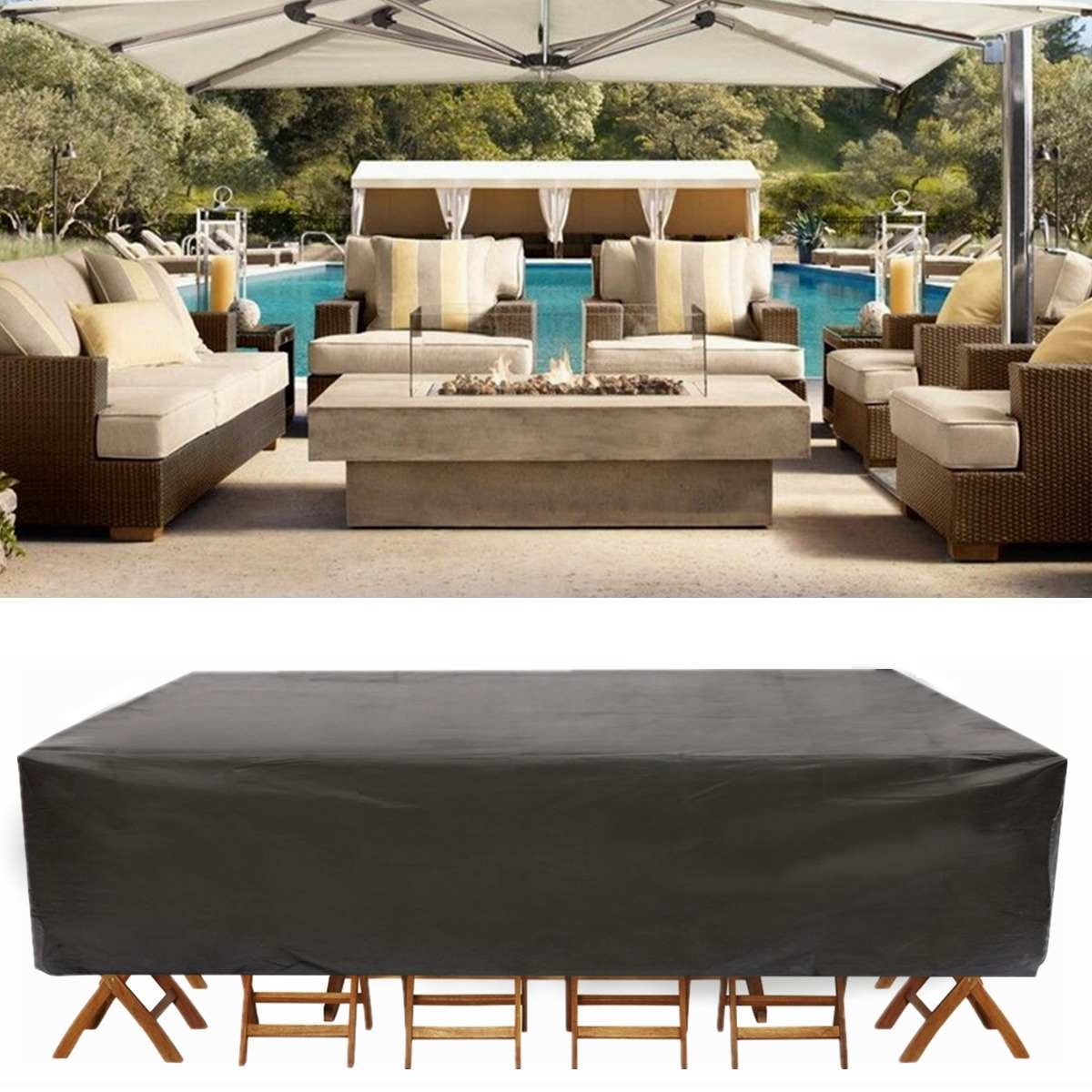 Waterproof Outdoor Garden Furniture Covers Dust Cover For Rattan Table Chair Sofa Protection Set Furniture Dustproof Rain Cover