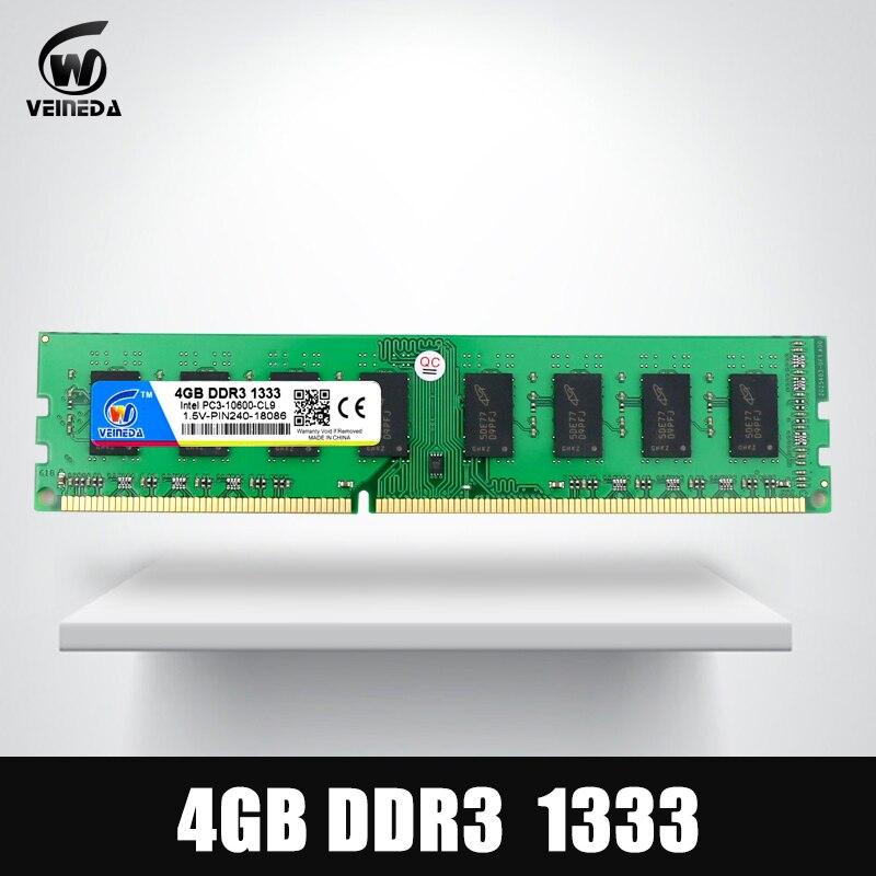 VEINEDA Ram Dimm DDR3 4 GB 1333 MHz ddr 3 PC3-10600 Compatible 1066 1600 240pin para Intel AMD de escritorio