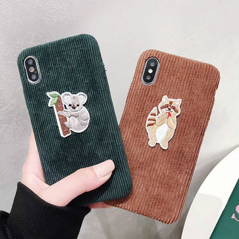 Embroider Racoon Sloth phone case For iphone Xs Max case For iphone 8 case For iphone X Xs XR Xs Max 6S 6 7 8 Plus Cute Bradipo