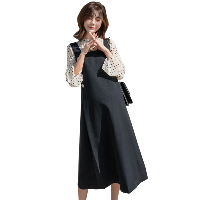 Pengpious 2019 spring autumn long loose pregnant women suits long sleeve polka dot shirts+black strap dress maternity twinset formal wear
