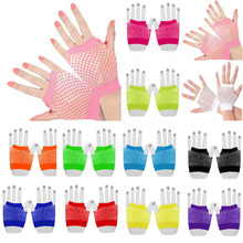 Fashion Women Bride Glover Party Lace Fingerless Wrist Mesh Sexy Fishnet Short  Gloves Solid Color White Black