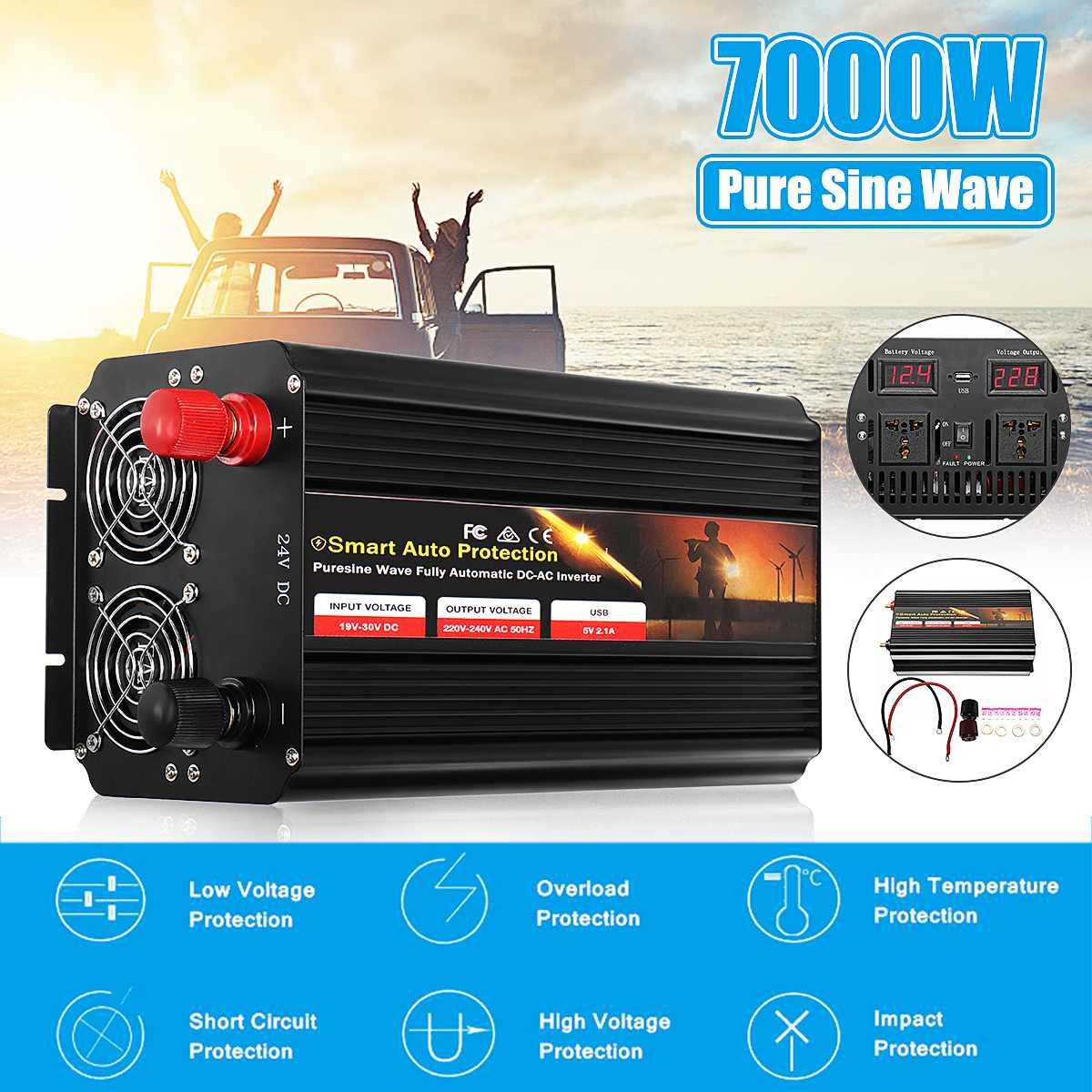 12 V/24 V 220 V onduleur de voiture Convertisseur De Pois 7000 W Double LCD affichage numérique Pur Onde sinusoïdale transformateur 2 LCD Numérique