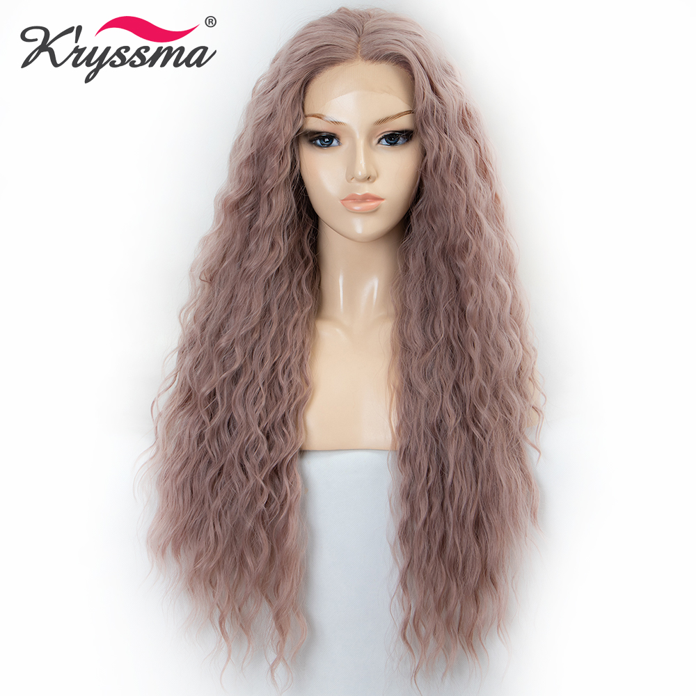 Kryssma Synthetic Lace Front Wigs Long Loose Wavy Ash Gray Pink Wigs For Women Hair Heat