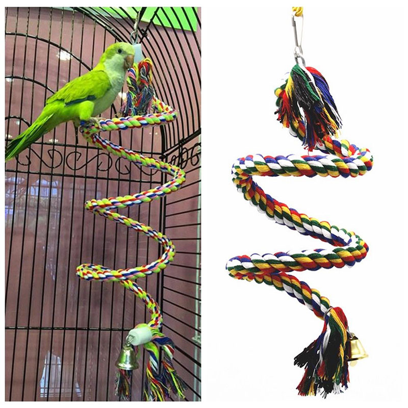 Parrot Rope Hanging Braided Budgie Chew Rope Perch Bird Cage Cockatiel Toy Pet Stand Training Accessories Conure Swing Supplies