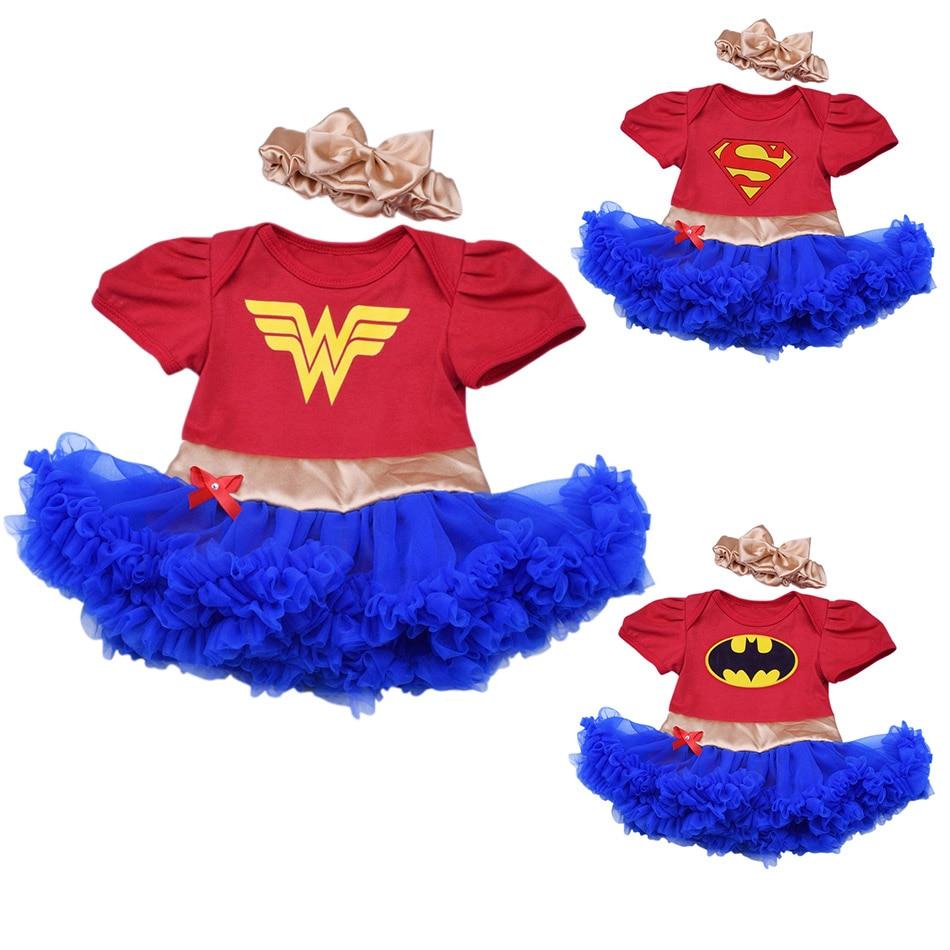 Casual bebê meninas babados tutu vestido com bandana superheroes vestidos infantil superman maravilha mulher justiça roupas de algodão