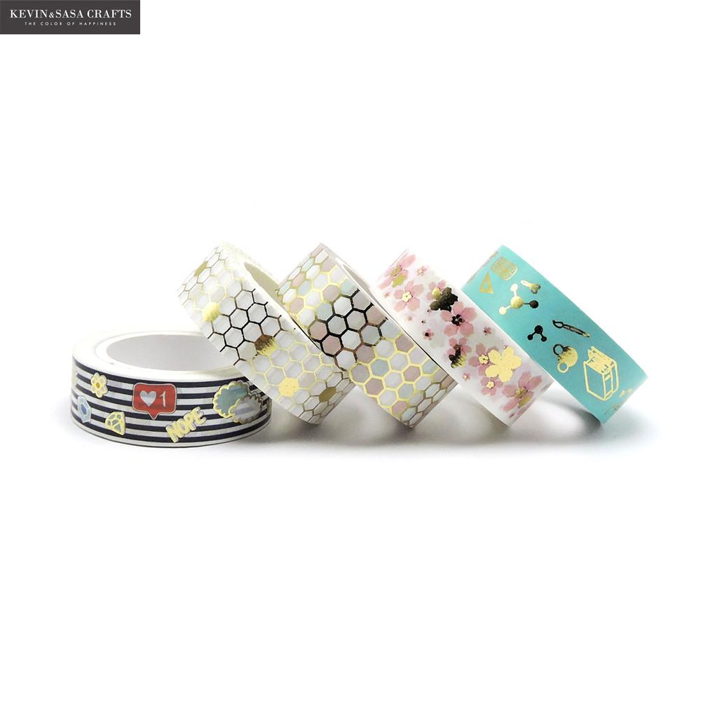New Foil Washi Tape Quality Stationery Diy Scrapbooking Photo Album School Tools Kawaii Scrapbook Paper Stickers Gift