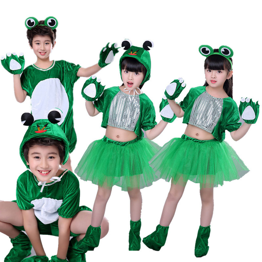Children Animal Stage Performance Teamwear Green Frog Anime Cosplay Jumpsuit Boys and Girls Cartoon Party Dance Costumes