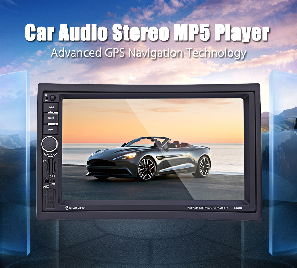 Refurbished 7020G Car MP5 Player 7 inch 2Din 12V Auto Video Remote Control Rearview Camera GPS Navigation Function European MapRefurbished 7020G Car MP5 Player 7 inch 2Din 12V Auto Video Remote Control Rearview Camera GPS Navigation Function European Map
