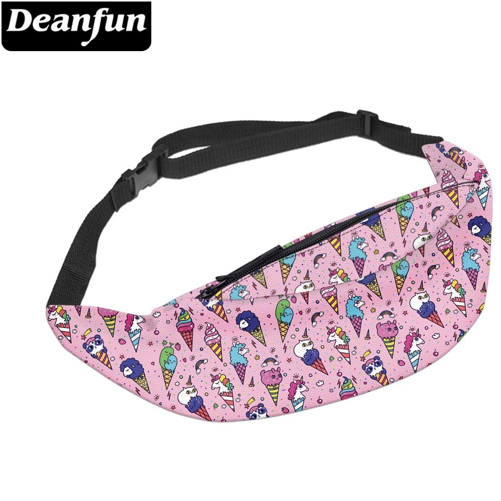 Deanfun Waterproof Fanny Packs Colorful Unicorn Panda Ice Cream Adjustable Belt Bag Waist Bag Hip Bum Bag  YB-53