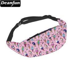 лучшая цена Deanfun Waterproof Fanny Packs Colorful Unicorn Panda Ice Cream Adjustable Belt Bag Waist Bag Hip Bum Bag  YB-53
