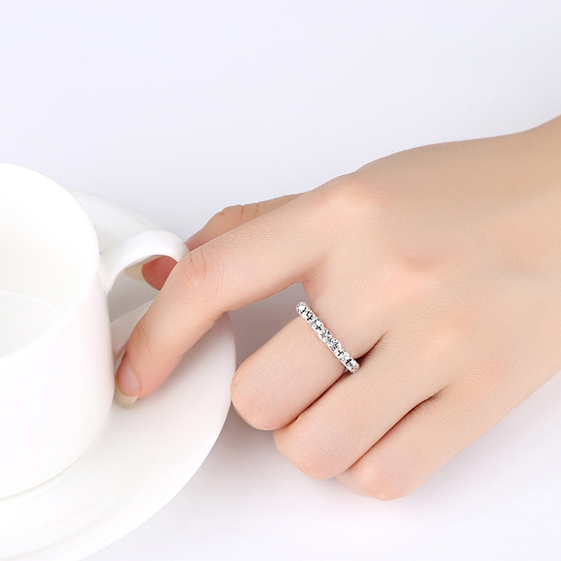 Sale Bright Silvery AAA+ Shining CZ Elastic Rings Full Crystal Rhinestone Finger Rings For Women Jewelry Drop Shipping
