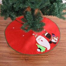 5 Pcs/Lot 90cm Red Christmas Tree Skirts Santa Xmas Chrismas Winter Decoration 2018 for Home Falda Para Arbol De Navidad