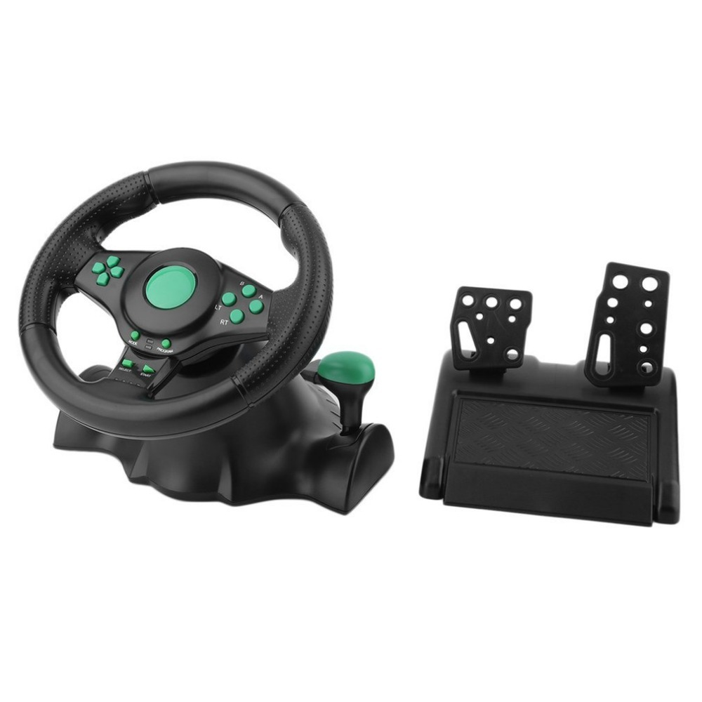 Racing Game Steering Wheel For XBOX 360 PS2 For PS3 Computer USB Car Steering Wheel-180 Degree Rotation Vibration With Pedals image
