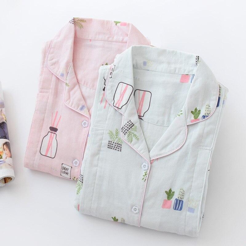 Breastfeeding Woman Pajamas 100% Cotton Gauze Pijama Mujer Pregnant Women Post-natal Breastfeeding Pajama Set Maternity Pyjamas