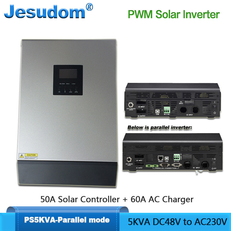 PWM Solar Inverter 5000VA 4000W Built in 48V50A PWM Solar Charge Controller with 60A AC Charger