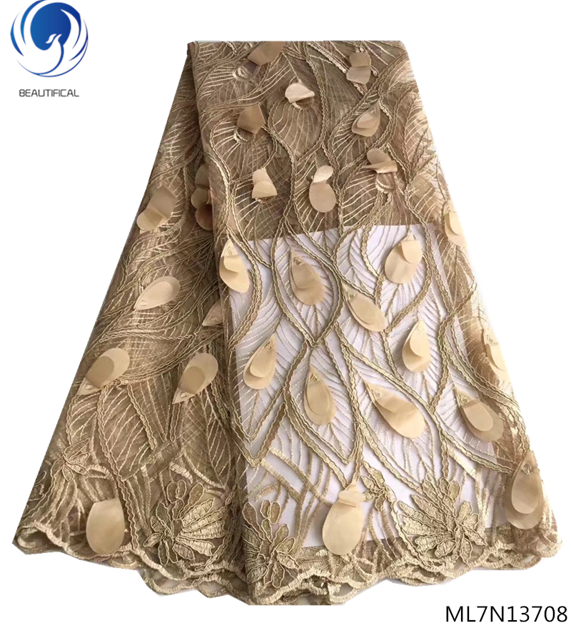 BEAUTIFICAL nigeria tulle lace fabrics with embroidery fashion 5 yards lace fabric african french lace 2019 party ML7N137BEAUTIFICAL nigeria tulle lace fabrics with embroidery fashion 5 yards lace fabric african french lace 2019 party ML7N137