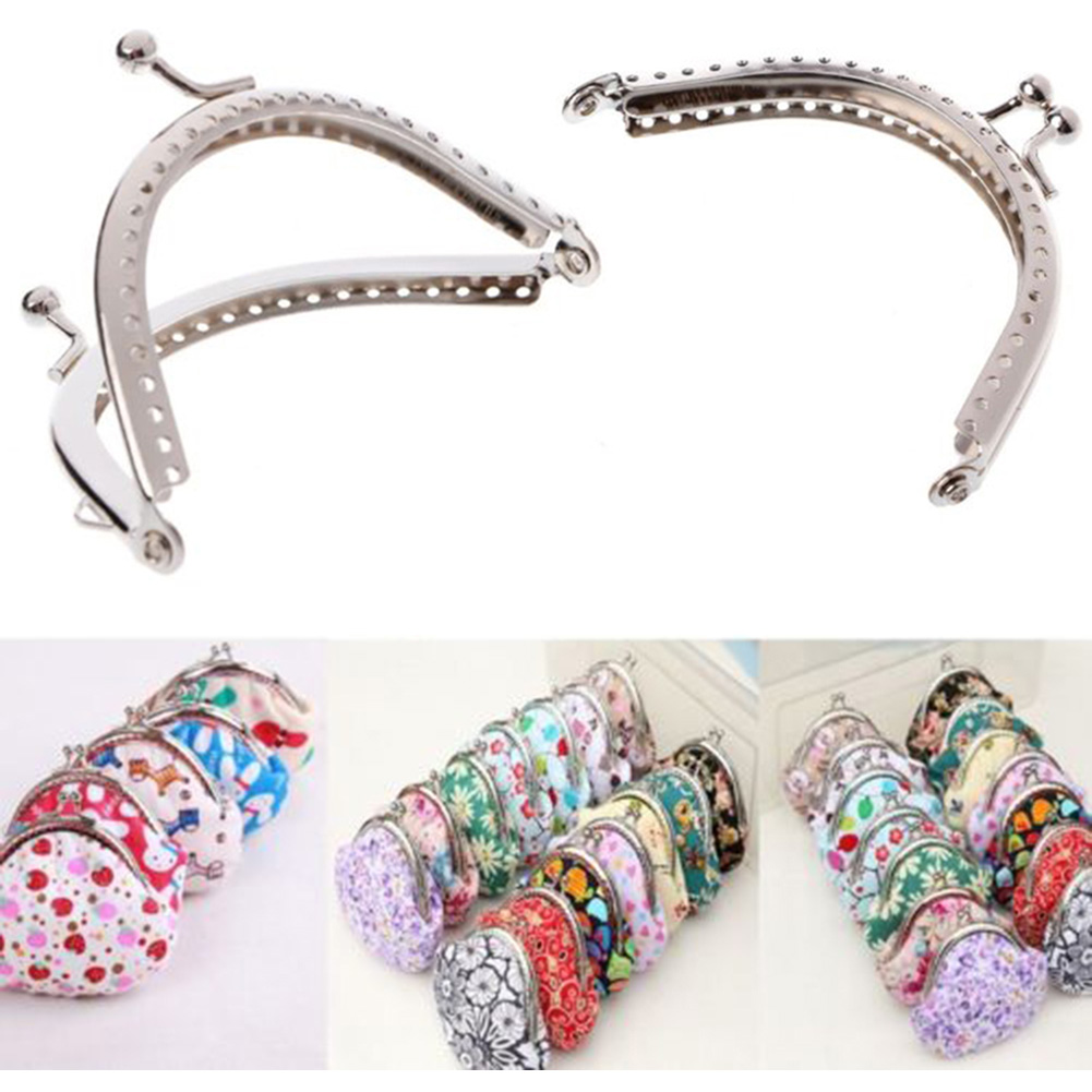 8.5cm 1pc Round Metal Purse Frame Handle For Clutch Bag Handbag Accessories Making Kiss Clasp Lock Antique Silver Bags Hardware