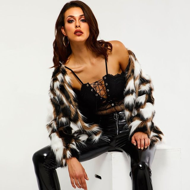 Women Faux Fur Coats Casual Punk Winter Office Lady Boho Straight Thick Button Black Tops Female Fashion Elegant Overcoats