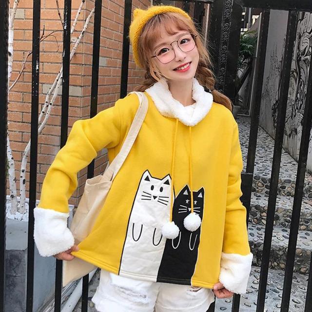 Christmas Lovely Cats Print Winter Hoodies Sweatshirt 2019 Women Female Warm Fleece Xmas Autumn Tops Women Long Sleeve Coat
