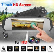 7 Inch Touch Screen Dual Lens Car Rearview Mirror DVR font b Camera b font Night