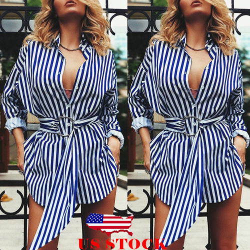 2019 Fashion Women Striped Button Down Long Shirt Belted Peplum Long Sleeve Casual Tops Blouse