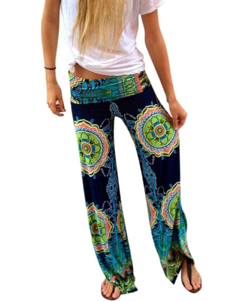 MISSKY Women   Pants   Casual Middle Waist Retro Flare Flower Printing   Wide     Leg     Pants   Green