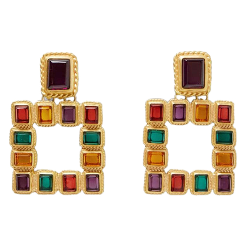 Large Square Za Dangle Earrings For Women Charm Vintage Gold Color Fashion Crystal Drop Earring Bohemia Bride Jewelry