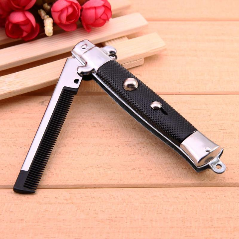 Portable 1pcs Stainless Steel Hair Beauty Folding Beard Hairs Comb Hairstyling Tools Switch Combs For Men Women