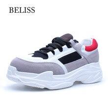 BELISS 2019 Kadın Sneakers moda rahat ayakkabılar Kadın Inek Süet Takozlar Ayakkabı Kadınlar Için Dantel Up Flats ayakkabı Kadın Platformu P17