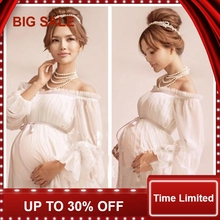 white lace Maternity dress Photography Props Long lace dress pregnant women Elegant Fancy Photo Shoot Studio Clothing недорого