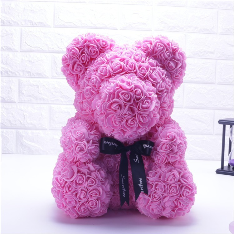 NEW Valentines Day Gift 25cm Red Bear Rose Teddy Bear Rose Flower Artificial Decoration Christmas Gift for Women Valentines Gift(China)
