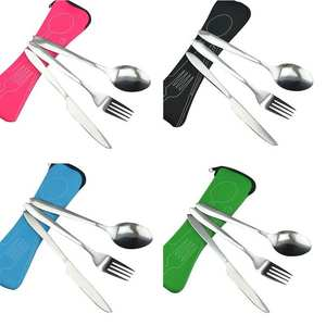 Stainless Steel Cutlery Set Portable Spoon Fork Knife Travel Picnic Western Tool Set Kitchen Accessories For Home Outdoors