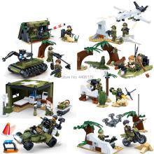 hot LegoINGlys military WW2 army Landing battle vehicles tankfighter rocket missile war Building Blocks figures bricks toys gift